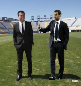 Guardiola aprueba el traje de Sergio Lobera